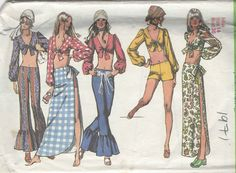 Vintage Hippie Era Simplicity Pattern 9412 Misses Midriff Top Bell Bottom Hip Hugger Pants My teen years.still have my bell bottoms. 70s Inspired Fashion, 70s Fashion, Vintage Fashion, 1970s Hippie Fashion, Seventies Fashion, Vintage Couture, Vintage Sewing Patterns, Clothing Patterns, Knitting Patterns