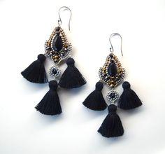Chandelier Earrings Black Drop Earrings Tassel от QJBoutique