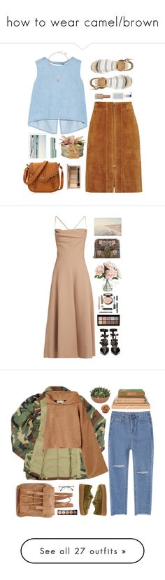 """""""how to wear camel/brown"""" by timeak ❤ liked on Polyvore featuring Steve J & Yoni P, Reiss, Too Faced Cosmetics, New Look, Antica Farmacista, Michael Kors, Valentino, Robert Clergerie, Gucci and NYX"""