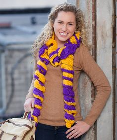 Rah-Rah Personalized Colors Ruffles Scarf: free easy level pattern
