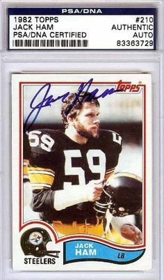 Jack Ham Autographed/Hand Signed 1982 Topps Card PSA/DNA #83363729 by Hall of Fame Memorabilia. $62.95. This is a 1982 Topps Card that has been hand signed by Jack Ham. It has been authenticated by PSA/DNA and comes encapsulated in their tamper-proof holder.