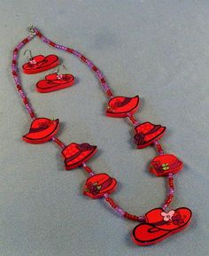 Red Hat Society Necklace & Earring Set // by SiggisVintageAttic
