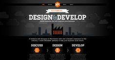 Web design inspiration: dark / black / pop of color / orange / icons / illustrations / typography / bold | Siminki.co.uk