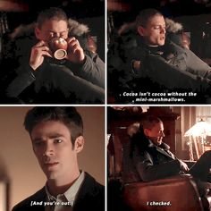 """""""Cocoa isn't cocoa without the mini-marshmallows"""" - Captain Cold and Barry #TheFlash"""