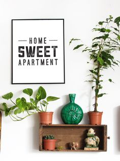 Home Sweet Apartment Art Print 7 Apartment Decorating and Small Living Room Ideas Home Decor Hacks, Easy Home Decor, Cheap Home Decor, Apartment Wall Art, Apartment Ideas, Apartment Living, 1st Apartment, Apartment Layout, Apartment Design