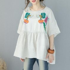 a7837868eb4bb Girlish Beautiful Embroidered Blouse  blouse  shirt  plussize  beautiful   linen  embroidery