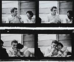 """"""" James Dean with friends at Googie's Diner, Hollywood by Phil Stern, May 1955 """""""