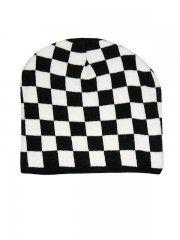 CHESSBOARD PATTERN BEANIE CAP- BLACK