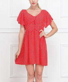Love this Red Polka Dot Cape-Sleeve Dress on #zulily! #zulilyfinds