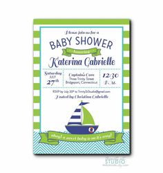 Nautical Sailboat Baby Shower Invitation - Typography PRINTABLE DIY Digital or Printed Design   Sour Apple Green, Yellow or Red with Navy Blue - Gender Neutral Boy or Girl