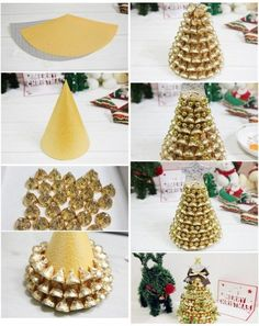 LoveThisPic offers DIY Gold Hershey Kisses Tree pictures, photos & images, to be. Christmas Candy Crafts, Handmade Christmas Decorations, Homemade Christmas Gifts, Diy Christmas Ornaments, Kids Christmas, Homemade Gifts, Holiday Crafts, Diy Gifts, Christmas Presents