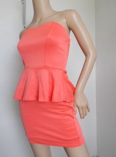 Coral Tube Peplum Bodycon Mini Dress size small #StretchBodycon #Cocktail #summer #fashion #beauty