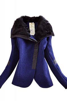 Bold Color! Sapphire Blue and Black Fur Turn-down Collar Oblique Zipper Long Sleeve Winter Coat