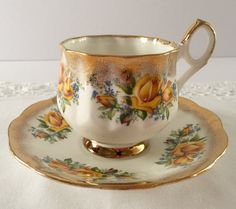 Stratford Yellow Rose China Tea Cup & Saucer