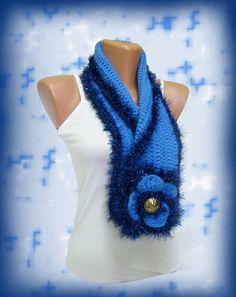 Fashion Blue Crochet Women Scarf Big by WomanStyleStore on Etsy, $31.00