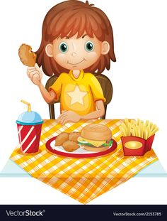 A young girl eating at the fastfood restaurant vector image on VectorStock Creative Poster Design, Creative Posters, Clip Art Library, Food Clips, Doodle Pages, Book Cafe, Eating Fast, Quick Healthy Breakfast, Fast Food Restaurant