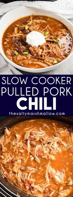 Slow Cooker Pulled Pork Chili - This amazing sweet heat style pulled pork chili is absolutely mouthwatering! Everything you love about pulled pork made into a hearty chili that's packed with BBQ flavor and perfectly hearty for those cold fall and winter Pork Chili Recipe, Chili Recipes, Soup Recipes, Healthy Recipes, Recipies, Sweet Heat Chili Recipe, Mexican Recipes, Delicious Recipes, Pulled Pork Chili