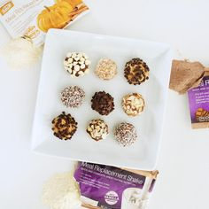 """""""AdvoCare Protein Snack Balls: 1 AdvoCare Meal Replacement Shake (any flavor) 1/2-3/4 cup nut butter (based on preference) 1 tbsp. honey or 2 tsp.…"""""""