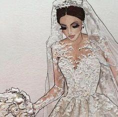 Beauty Illustration, Fashion Illustration Sketches, Fashion Sketchbook, Fashion Sketches, Wedding Dress Illustrations, Wedding Dress Sketches, Dream Wedding Dresses, Bride Silhouette, Fashion Art