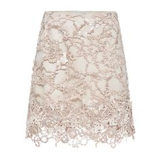 Mary Katrantzou Yilaneg Skirt In Nude (€4.865) ❤ liked on Polyvore featuring skirts, bottoms, gonne, nude, lacy skirt, mary katrantzou, pink lace skirt, lace skirt and knee length lace skirt
