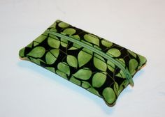 Beautiful Green Leaves on a rich Black background Zippered Kleenex Pocket Pack Tissue Holder