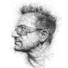 Artist Vince Low has turned once-aimless doodling into Scribble Art, which is an advanced art form of penmanship. Described as Scribbles with life, Vince Low's works are invariably in portrait form. Love Drawings, Drawing Sketches, Pencil Drawings, Art Drawings, Sketching, Vince Low, Mermaid Sketch, Arte Ninja, Rock Poster