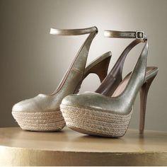 870e307a342d Jennifer Lopez Gold Burlap Heels Jennifer Lopez Shoes