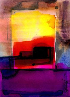 """Purple, Pink, Red, Yellow, Abstract Watercolor painting, """"Abstraction Series 213"""" Original ooak art painting by Kathy Morton Stanion  EBSQ"""