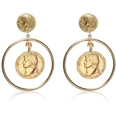 DOLCE & GABBANA Gold Plated Coin Pendant Earrings - Gold (7 825 SEK) ❤ liked on Polyvore featuring jewelry, earrings, accessories, gold, gold earring set, gold coin earrings, gold plated jewelry, gold earrings and nickel free earrings