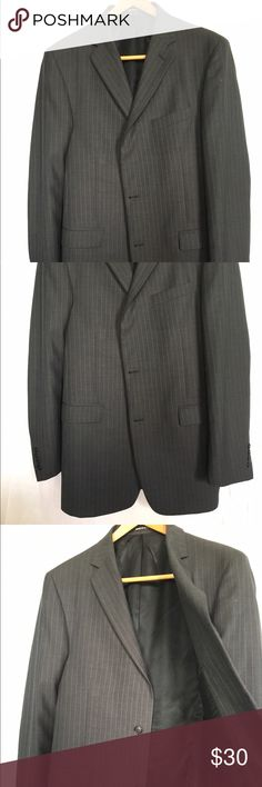 PERRY ELLIS PORTFOLIO BLACK BLAZER PERRY ELLIS black suit, no blemishes stains rips tears etc. as close to new as you can get, I've never even worn it. Features a classy interior, and a stylish tail in the back. Gray stripes down the material. Perry Ellis Suits & Blazers Sport Coats & Blazers