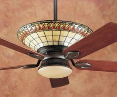 Superb Craftsman Style Ceiling Fan  2 Mission Ceiling Fans With     Hunter Charmaine Tiffany Craftsman Ceiling Fan Model 28425