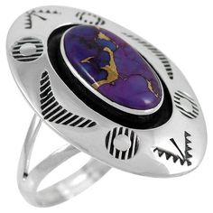Sterling Silver Ring Purple Turquoise R2289-C77