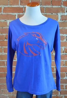 "Team 44 Apparel - BOISE STATE UNIVERSITY, ROYAL DOLMAN with 9"" Nailhead Bronco Logo"