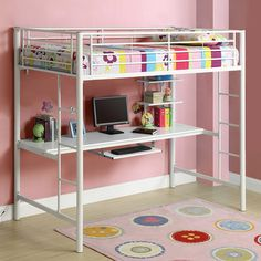 White Metal Twin Workstation Bunk Bed - Overstock™ Shopping - Great Deals on Walker Edison Kids' Beds