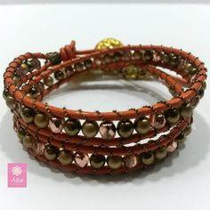 """Bella!""  Leather Wrap Bracelet with Czech Crystals  www.neacreations.com  #neacreations www.neacreations.com  #neacreations #jewelry #bracelet #bracelets"
