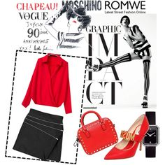 Moschino'n'Chanel by silvia-f-alex on Polyvore featuring Yves Saint Laurent, Moschino, Valentino, Chanel and romwe Romwe, Short Skirts, Mini Skirts, Spring Trends, Moschino, Yves Saint Laurent, Valentino, Ready To Wear, Black Leather