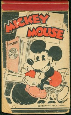 The very first product licensed by the Disney Company was this Mickey Mouse writing tablet, from 1930, when Mickey was only two years old. Limited edition reproductions were sold many years later at the Disney Store.