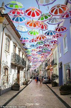 Umbrella Sky Project, Águeda - Portugal: Street Showers, Umbrellas Sky, Street Art