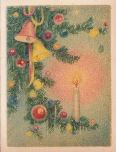 Vintage Greeting Card Christmas Candle Bells Ornaments Gibson r843