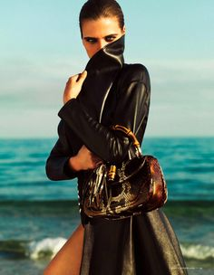 Tamara Weijenberg for Vogue Netherlands - Ralph Lauren leather trench