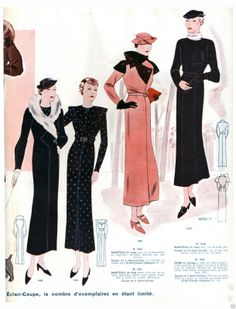 1934 Fall Eclair Coupe Paris Pattern Book Reprint Suits Hats Evening Gowns | eBay drape