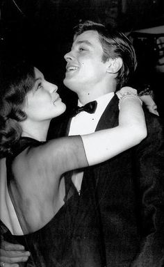 Romy Schneider & Alain Delon at a New Year's Eve party in Paris.
