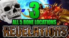 All 5 Bone Locations for the Revelations Easter Egg. Easy walkthrough guide on how to get the bones, and what to do with them. Black Ops 3 Zombies, Easter Eggs, Bones, Dice