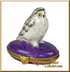 Brown & White Owl on Purple Base (Retired) Limoges box