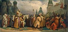 Palm Sunday procession, Moscow, with Tsar Alexei Michaelovich (painting by Vyacheslav Gregorievich Schwarz, Picasso Prints, Oil On Canvas, Canvas Prints, Palm Sunday, Holy Week, Russian Art, Lent, Reign, Gifts In A Mug