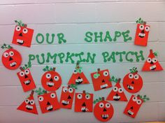 Our Shape Pumpkin Patch Bulletin Board Halloween Activities, Autumn Activities, Halloween Crafts, Holiday Crafts, Preschool Halloween, Scarecrow Crafts, Halloween Week, Halloween Ideas, Fall Preschool