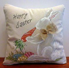 Pillow Cover Easter Bunny Carrot and Easter Eggs by SippingIcedTea