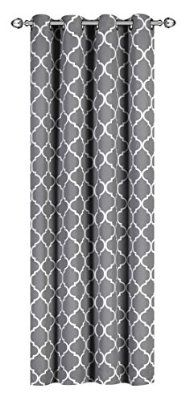 Printed Blackout, Room Darkening Printed Curtains Window Panel Drapes - (Grey Color Pattern) 1 Panel, 52 inch wide by 84 inch long each panel, Printed Pattern - By Utopia Bedding