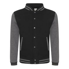 Just Hoods JH043 Jet Black and Charcoal Varsity Jacket - £19.35