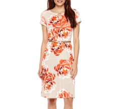 Perceptions Short-Sleeve Floral Print Belted Fit-and-Flare Dress - Petite